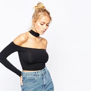 AA black over the shoulder fitted choker crop top
